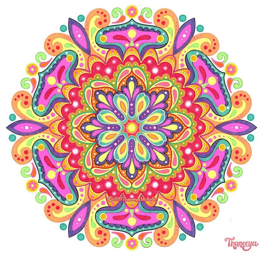Cosmic Mandala抽象着色页由Thanbetway必威官网appeeya Mcardle  - 套必威西蒙体育 欧盟体育10个印刷品