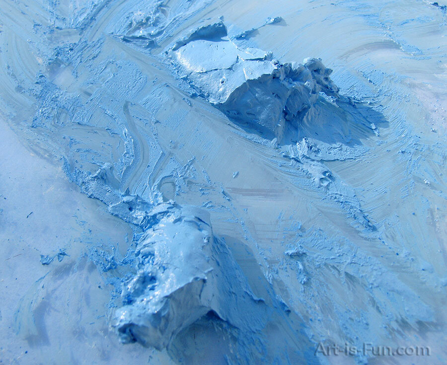 蓝色粉彩颜料和粘合剂的混合物