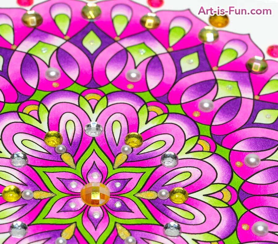 Detailed Mandala Coloring Page with Gems Angled View