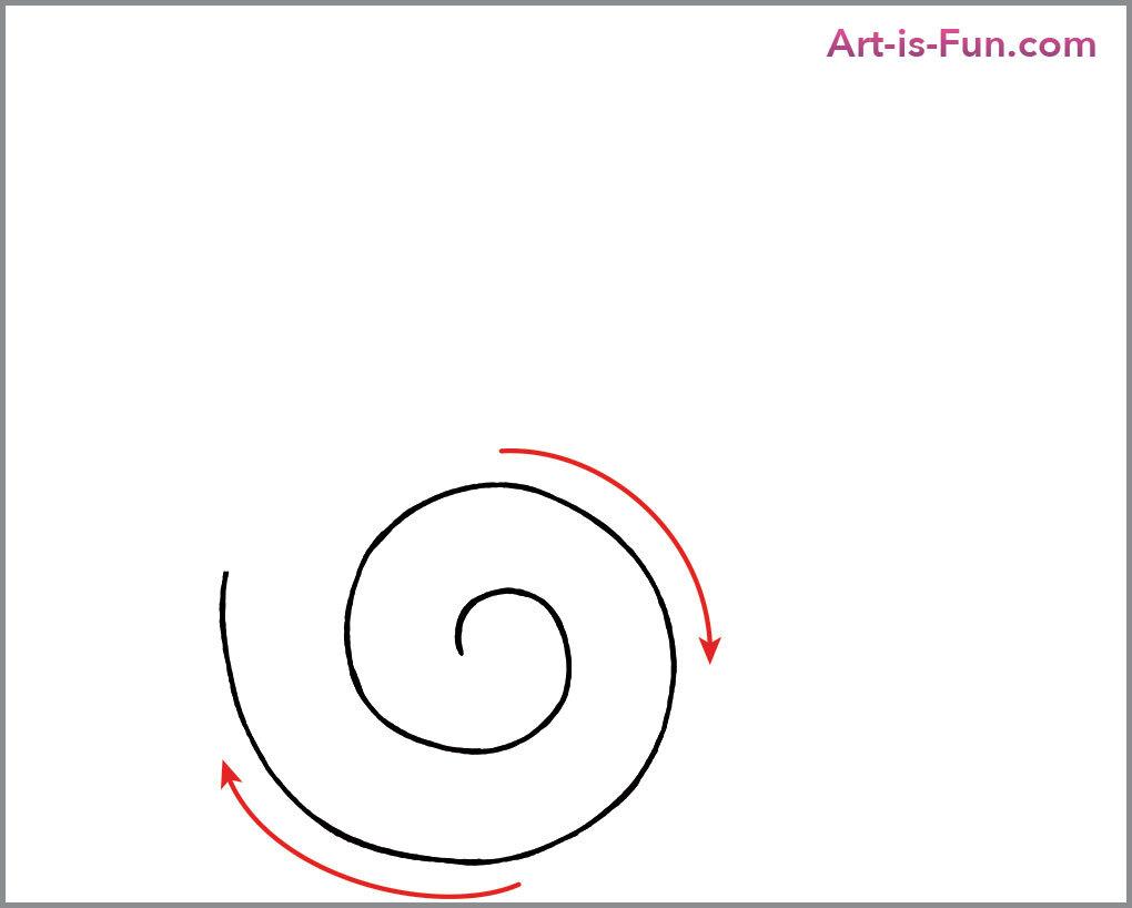 如何画可爱的蜗牛,第二步