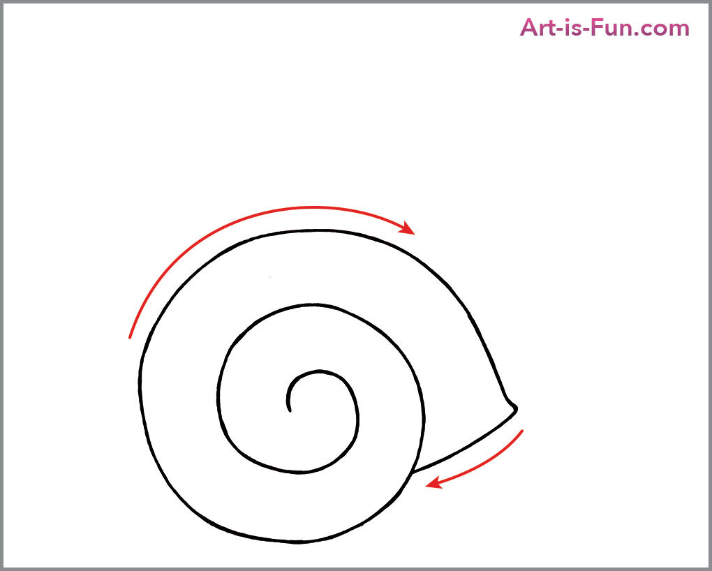 如何画可爱的蜗牛,第三步