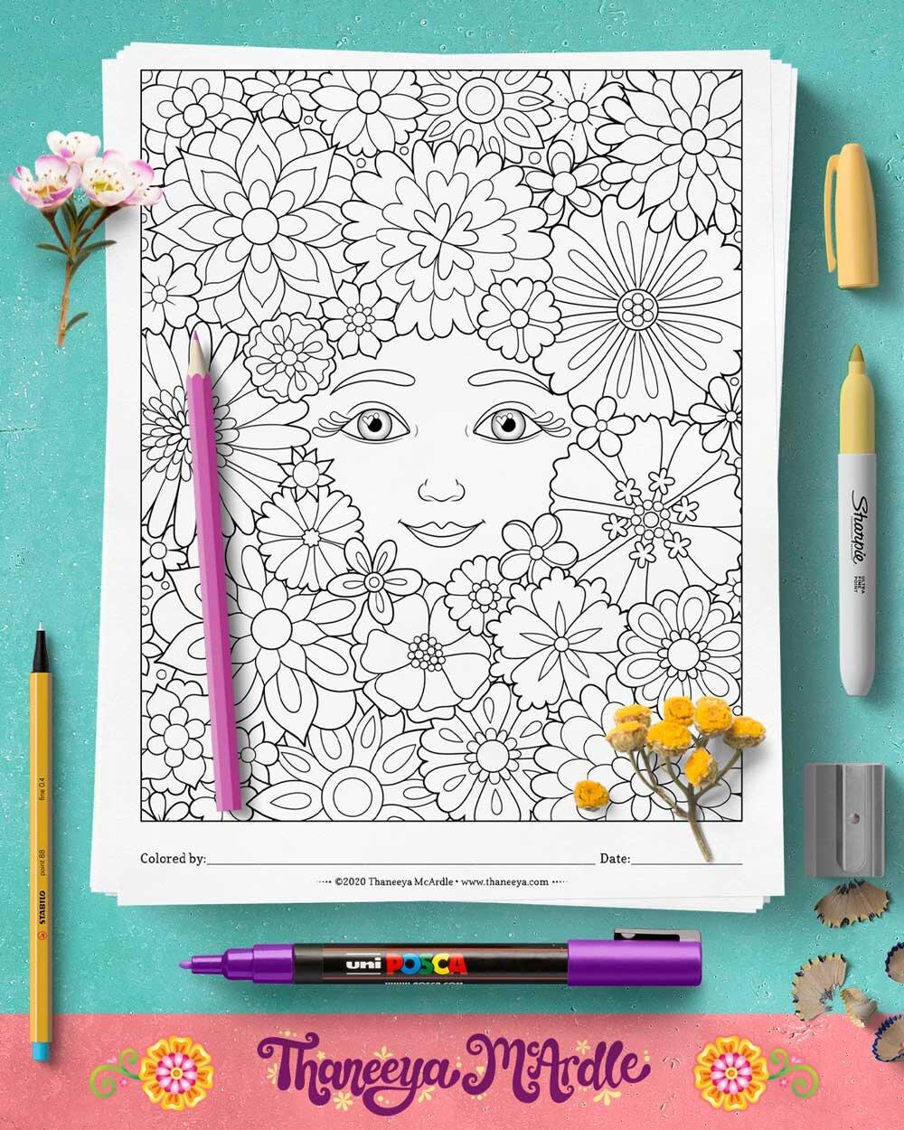 异想天开的脸在花朵上色页-一套10印刷迷人的脸上色页,由Thbetway必威官网appaneeya McArdle必威西蒙体育 欧盟体育