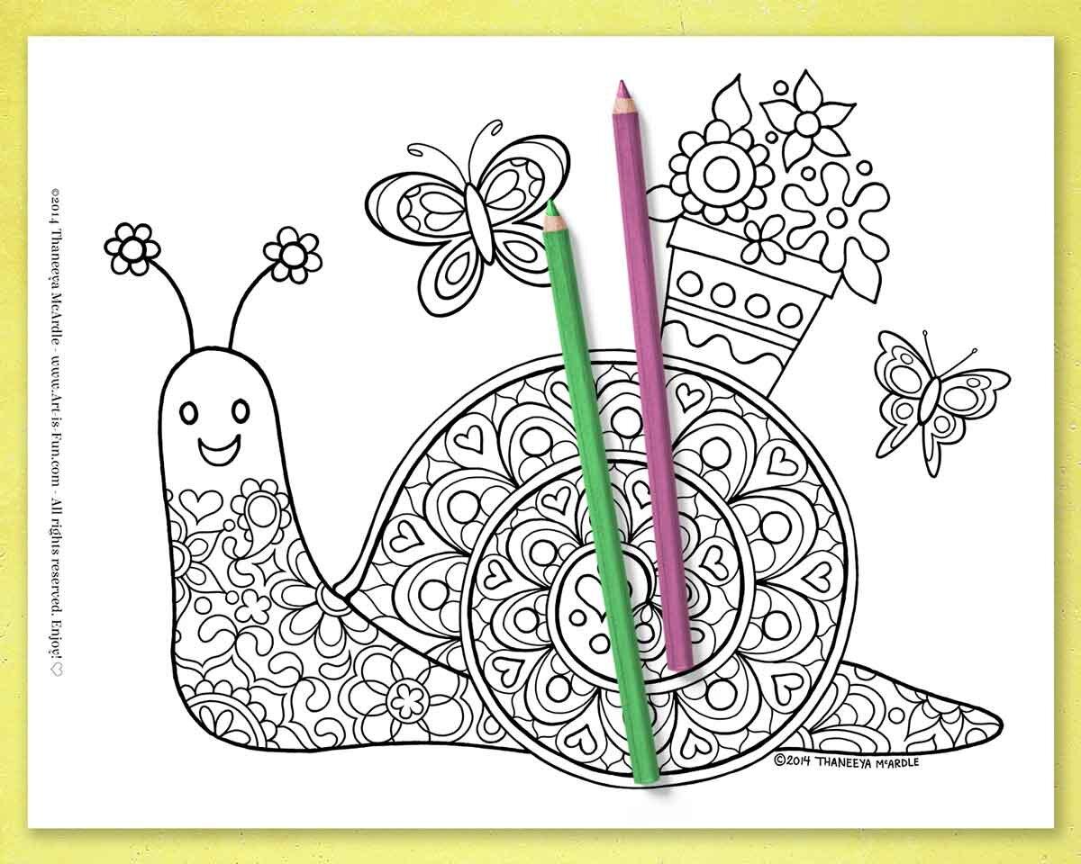 可爱的快乐蜗牛上色页面来自Thanbetway必威官网appeeya McArdle的一套20个可必威西蒙体育 欧盟体育打印的奇妙动物上色页面
