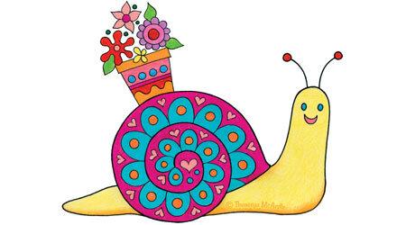 如何画可爱的蜗牛绘画课