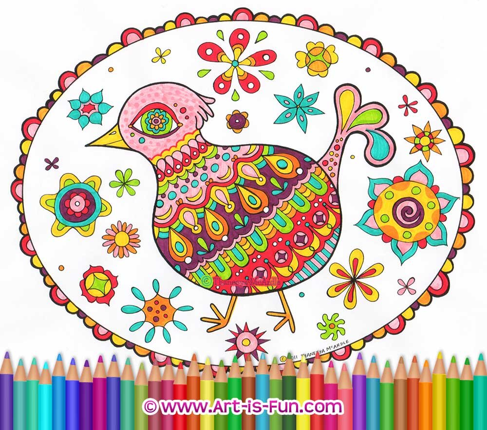 Folk Art Birds Coloring Pages Printable Coloring Book Of Detailed Birds Drawn In A Folk Style Art Is Fun