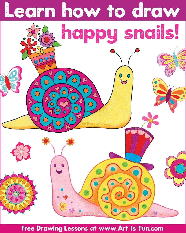 学习如何画快乐的蜗牛在这个简单的一步一步的绘画课由Thaneeya McArdle!必威西蒙体育 欧盟体育