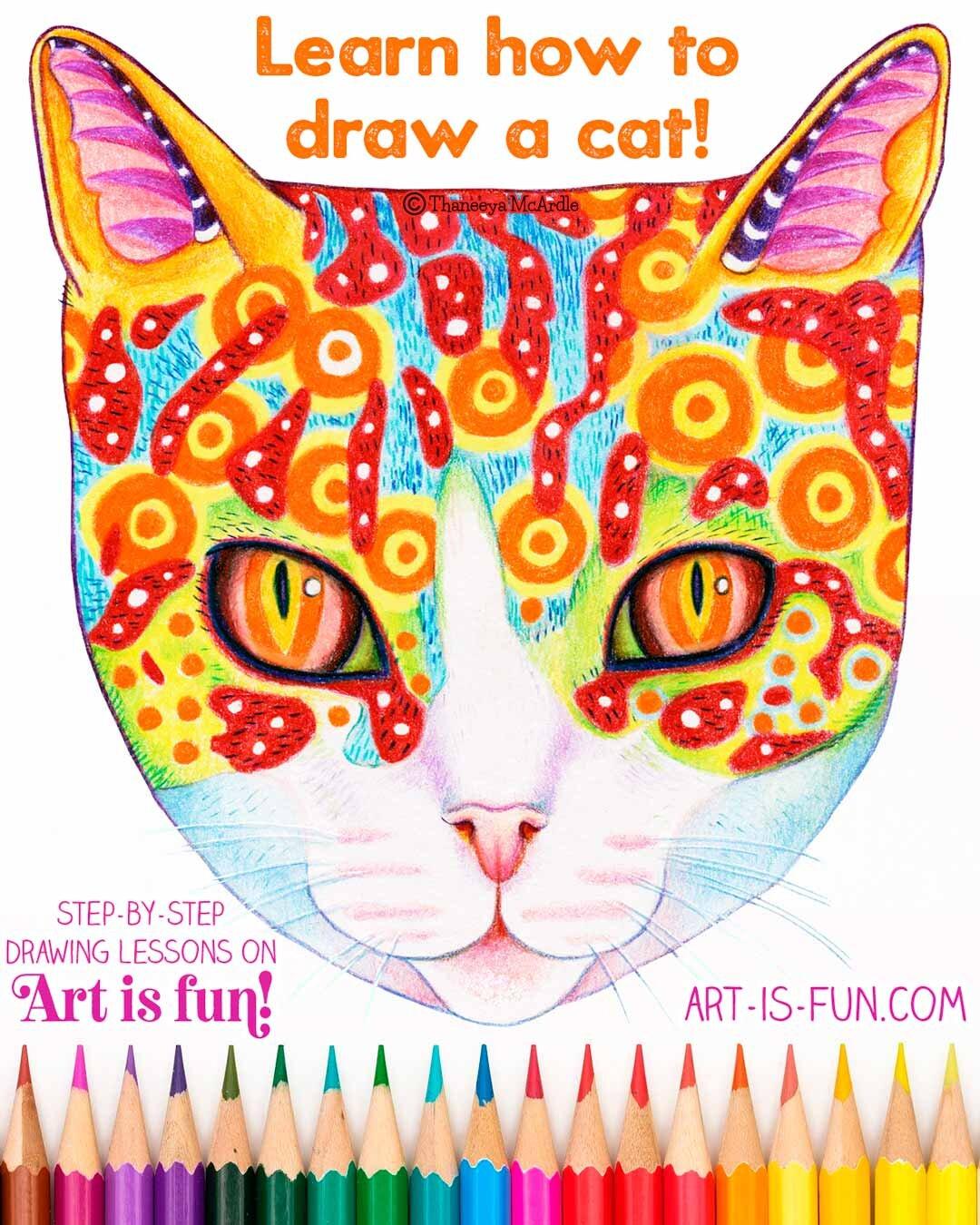 如何在Art-is-fun.com上绘制Aneeya Mcardle的所有年龄段的猫 - 逐步的猫绘图课程必威西蒙体育 欧盟体育