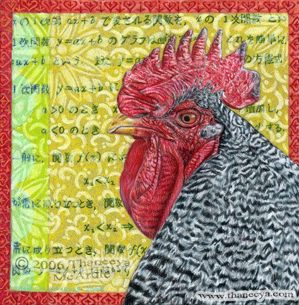 我用蜡基的Prismacolor彩色铅笔画了这只公鸡