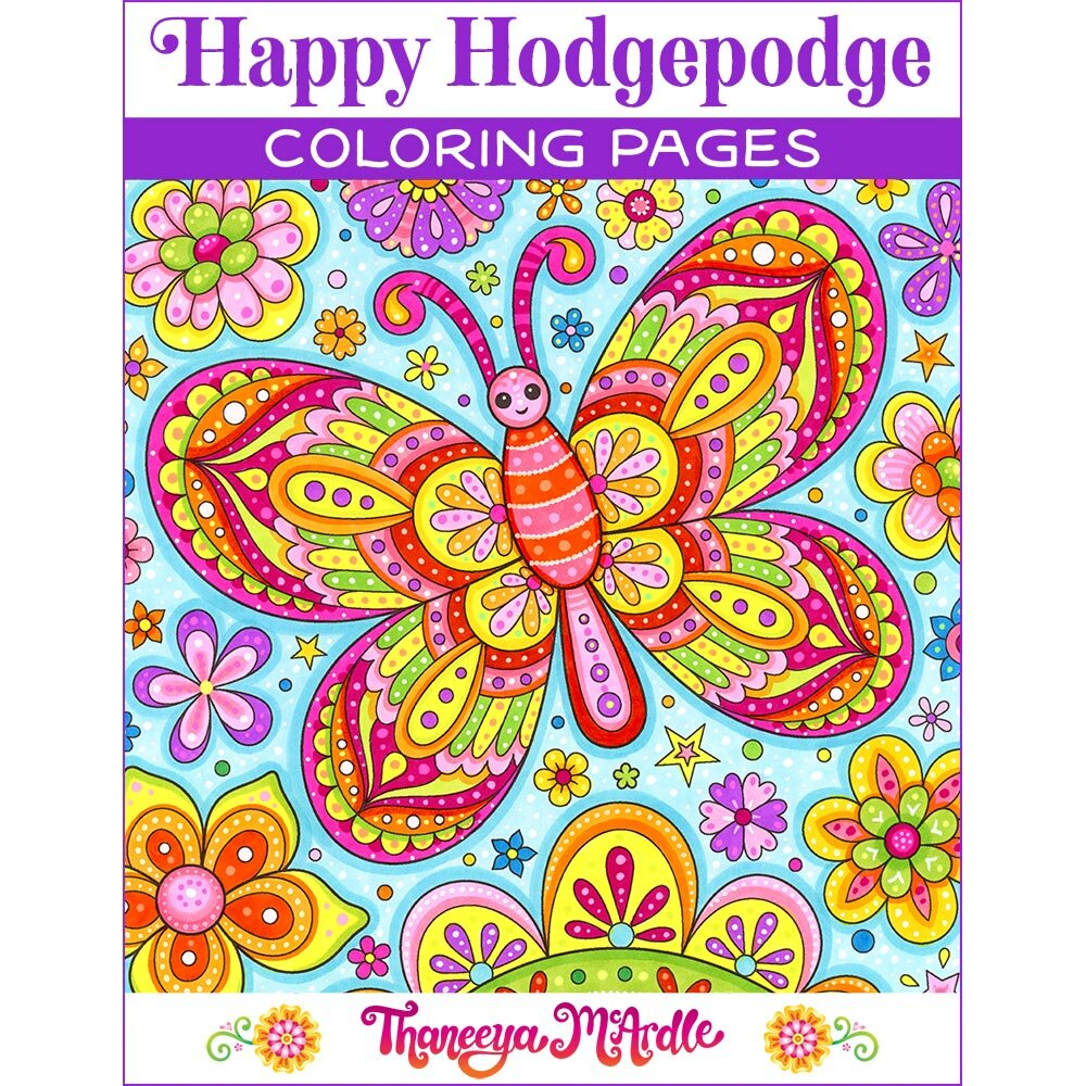 Happy Hodgepodge Coloring Pages Set Of 27 Printable Coloring Pages By Thaneeya Mcardle Art Is Fun