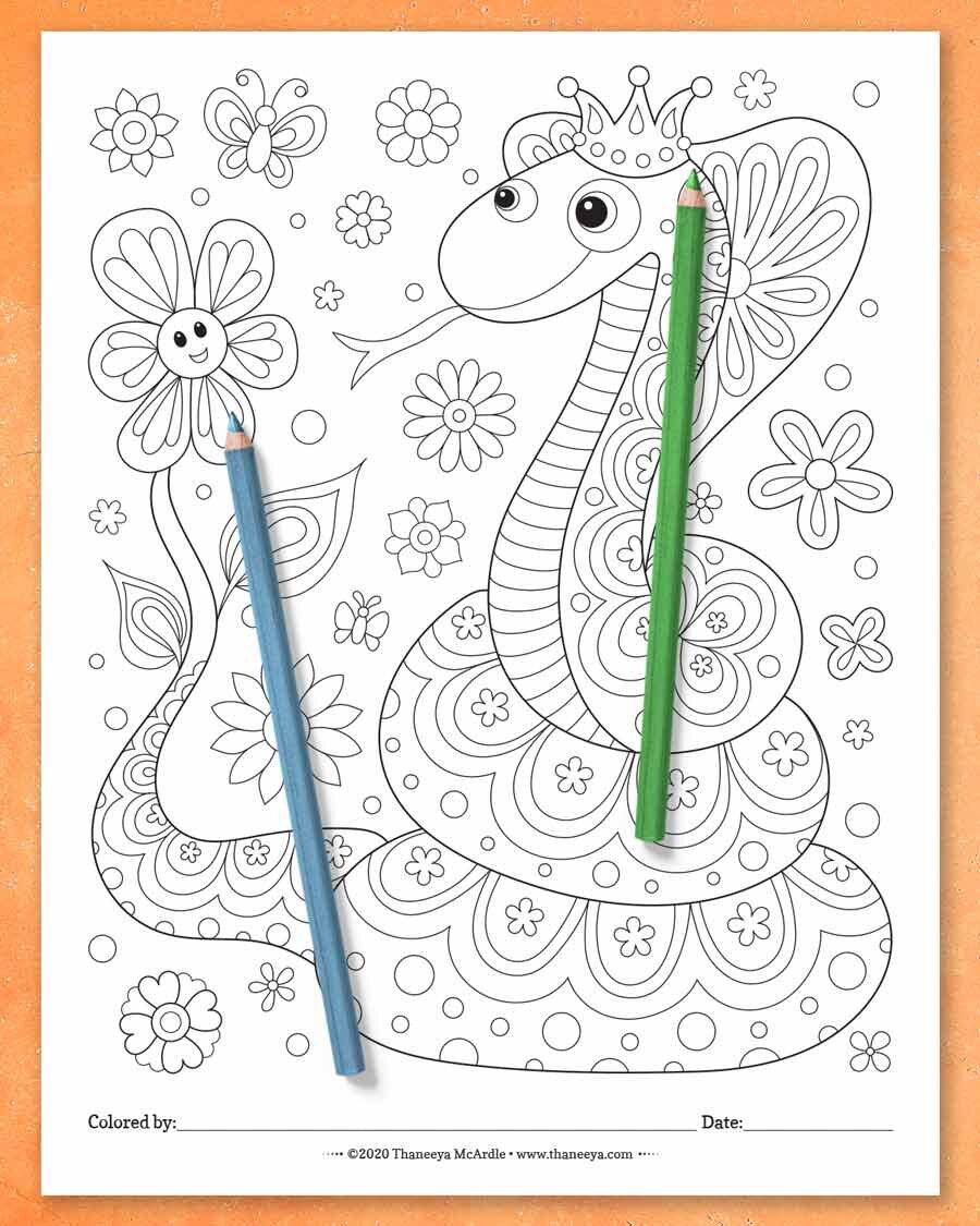 可爱的蛇彩页,来自Thbetway必威官网appaneeya McArdle的快乐大杂必威西蒙体育 欧盟体育烩彩页-一套27张可打印的彩页,适合所有年龄的人