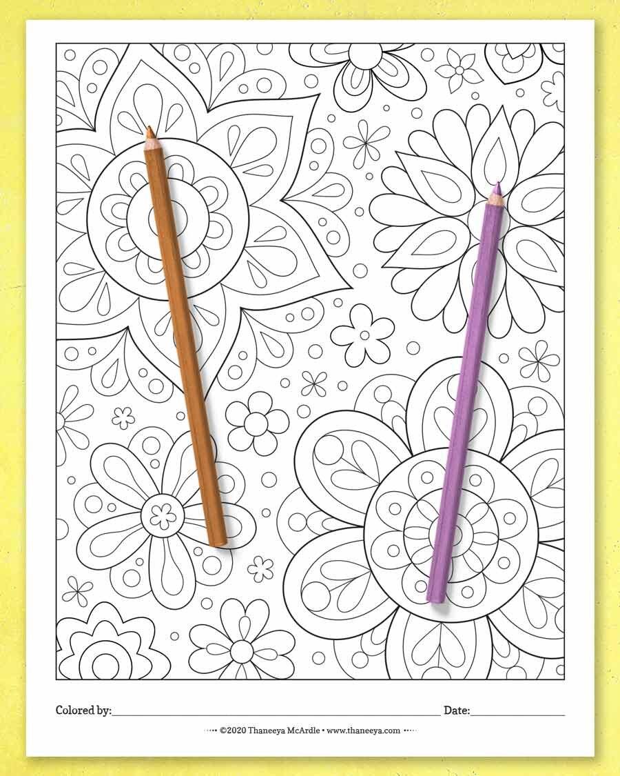 奇妙的花朵彩页,来自Thanebetway必威官网appeya McArdle的快乐大杂烩彩页必威西蒙体育 欧盟体育-一套27个可打印的彩页,适合所有年龄的人