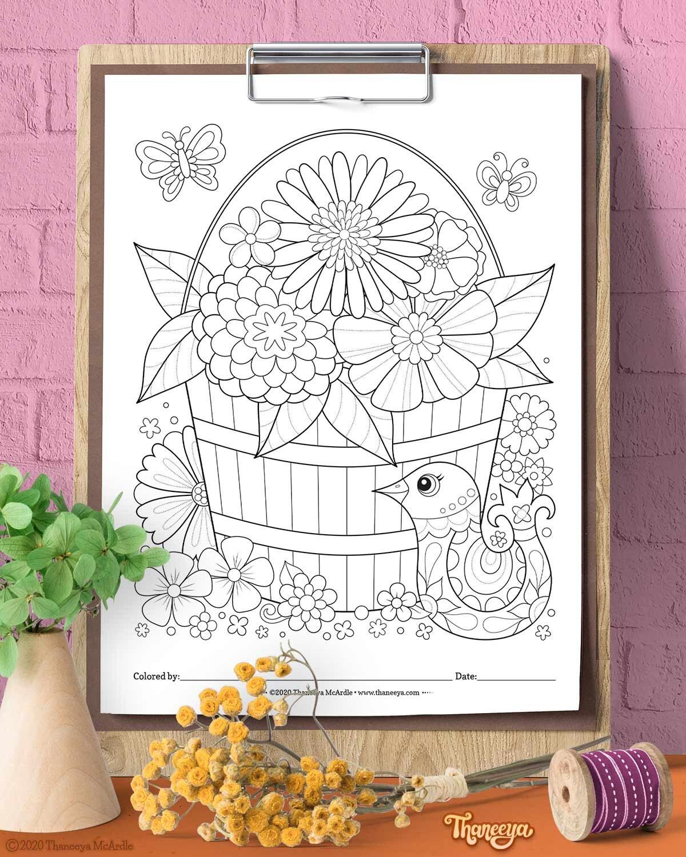 鸟和花的上色页从Thaneeya betway必威官网appMcArdle的快乐大杂烩上色页-一套必威西蒙体育 欧盟体育27打印上色页成人,青少年和孩子