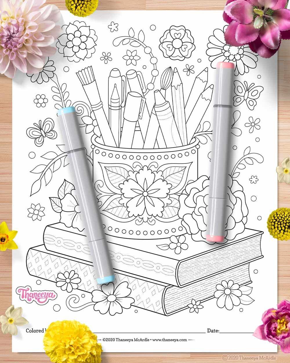 艺术用品和书籍上色页-一套27印刷的快乐大杂烩betway必威官网app上色页由Thaneeya McArdle必威西蒙体育 欧盟体育