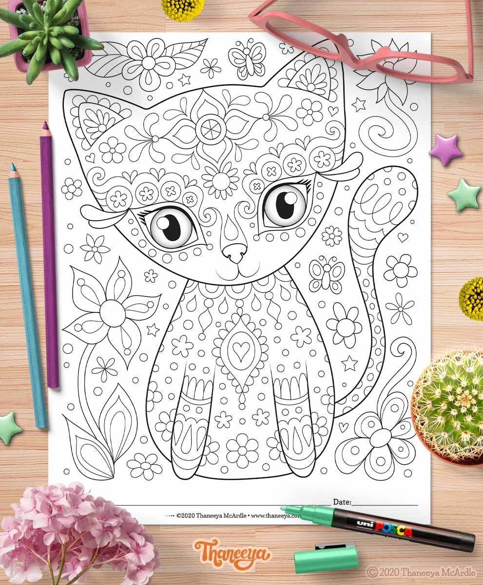 可爱猫咪彩页-一套betway必威官网app27张可印刷的快乐大杂烩彩页,作者是Thaneeya McArdle必威西蒙体育 欧盟体育