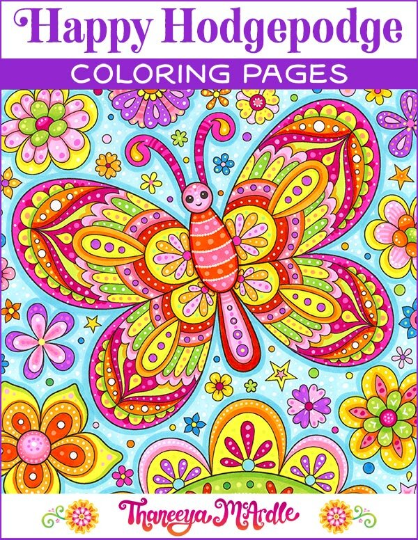 Happy Hodgepodge Coloring Pages - Set Of 27 Printable Coloring Pages By Thaneeya  McArdle — Art Is Fun