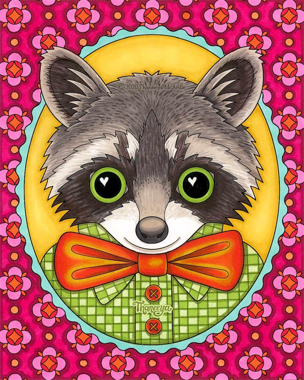 浣熊着色页从我一betway必威官网app套可打印的快乐odgepodge着色页,印在Ohuhu标记纸上,用Ohuhu酒精刷标记