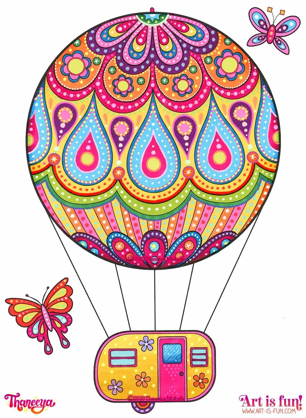 Thaneeya McArdle的快乐露营者涂色书中的热必威西蒙体育 欧盟体育气球露营者,用Ohuhu酒精记号笔和Sakurbetway必威官网appa Gelly卷笔涂色