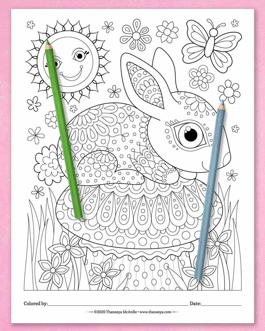 Thaneeya McArdle的一套10个可打betway必威官网app印的异想天开的世界彩色页面上可爱的兔子必威西蒙体育 欧盟体育蘑菇彩色页面