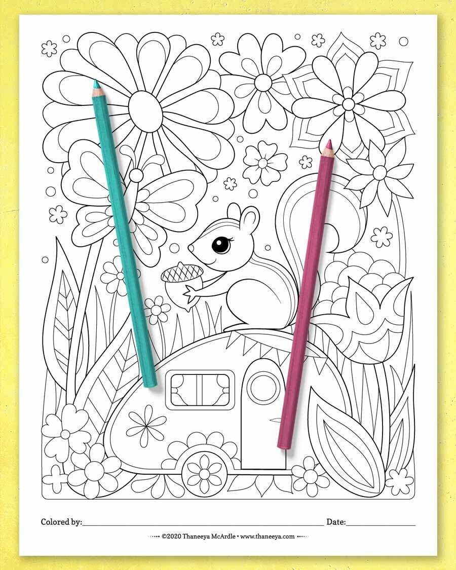来自Thaneeya McArdle的一套10个betway必威官网app可打印的异想天开的世界彩色页面上的可爱必威西蒙体育 欧盟体育的花栗鼠