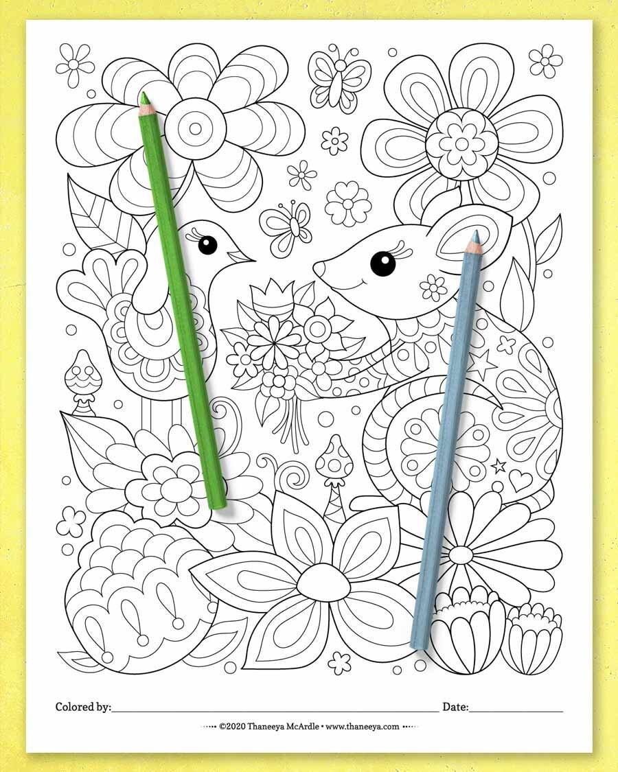 可爱的老鼠,塔尼娅·麦betway必威官网app卡德尔(Thaneeya McArdl必威西蒙体育 欧盟体育e)的一套10张可打印的异想天开的世界彩色页面
