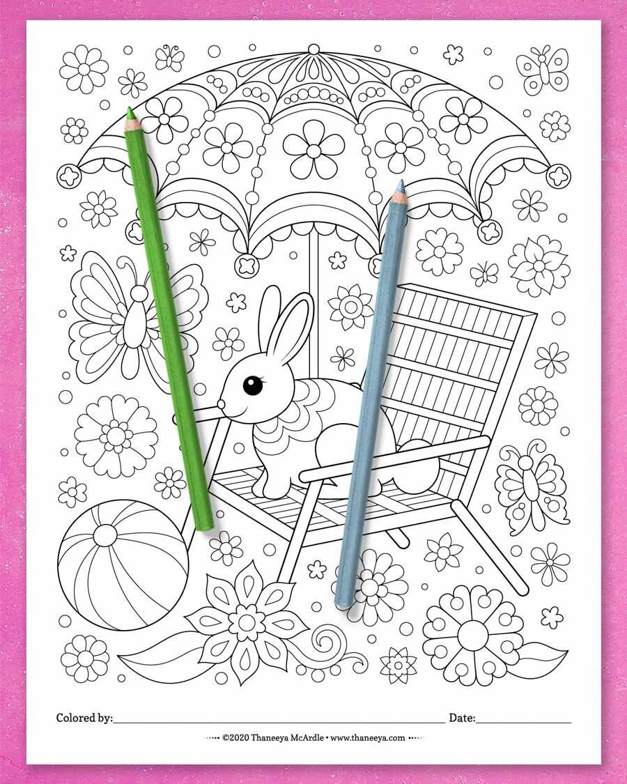 来自Thaneeya betway必威官网appMcArdle的一套10个可打印的异想必威西蒙体育 欧盟体育天开的世界彩色页面的可爱兔子