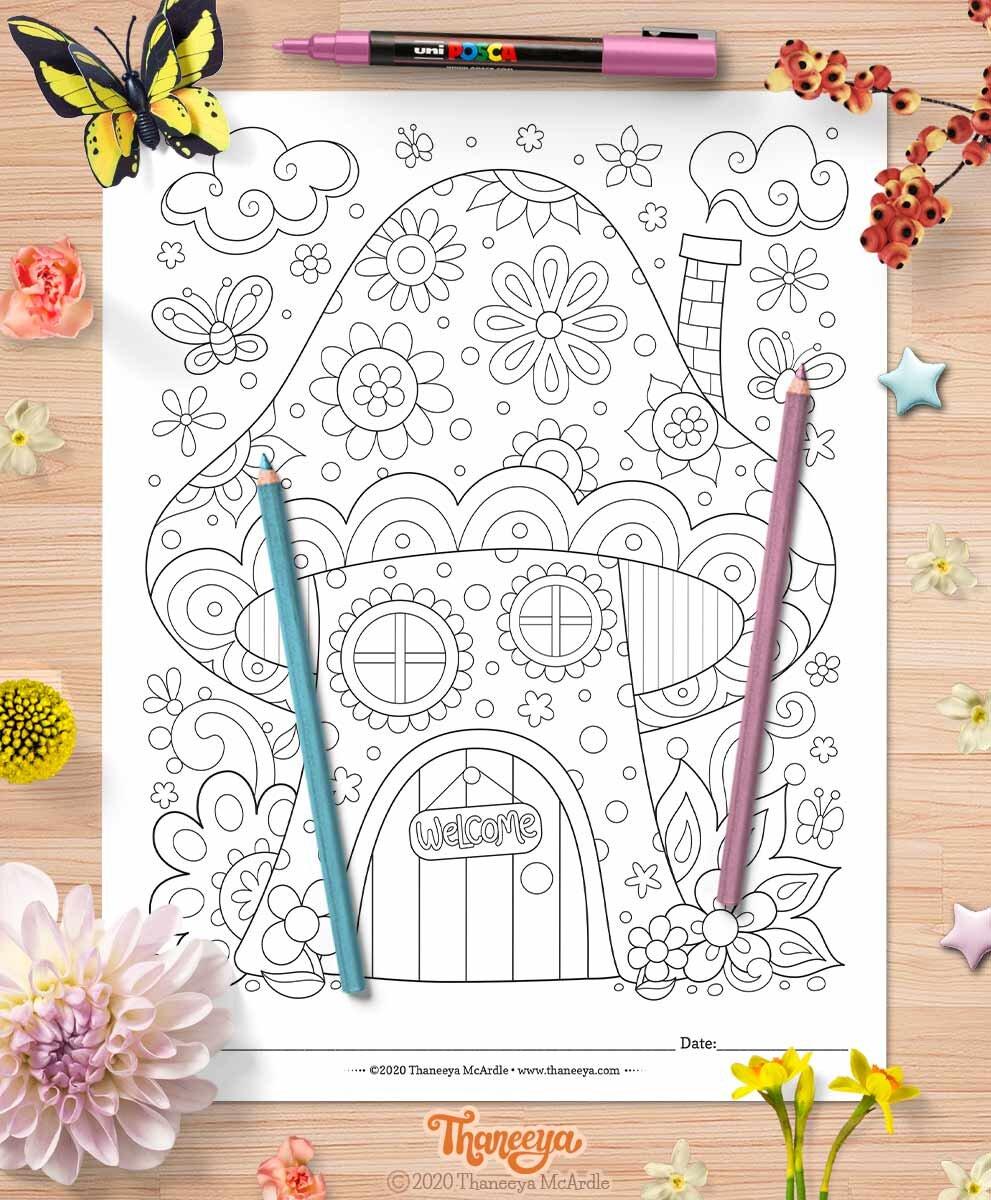 来自Thaneeya McArdle的一betway必威官网app套10个可打印的异想天开的世界彩色页面必威西蒙体育 欧盟体育的可爱蘑菇屋彩色页面