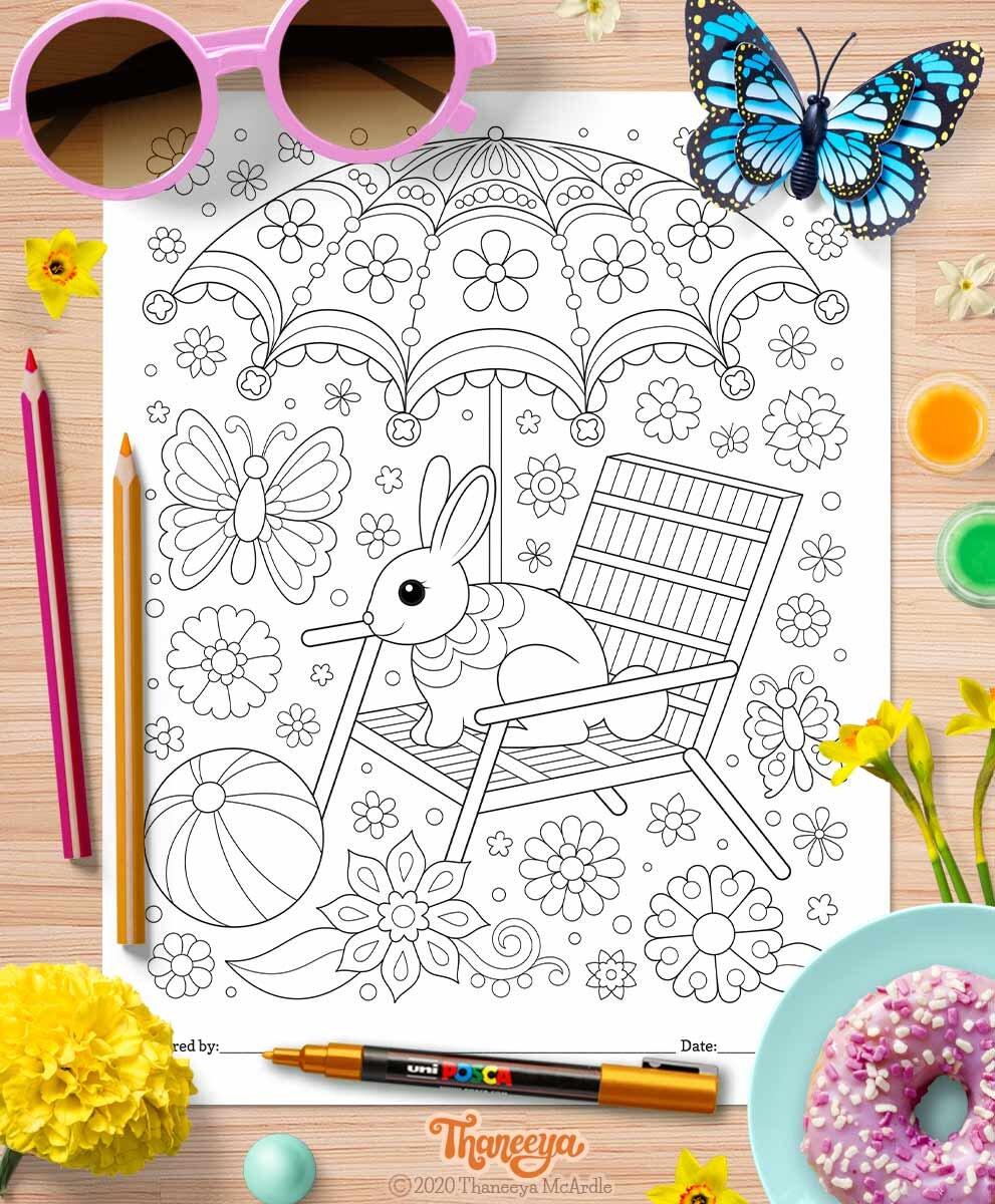 可爱的兔子在假期上色页-一套10个印刷异想天开betway必威官网app的世界上色页,由Thaneeya McArdle必威西蒙体育 欧盟体育