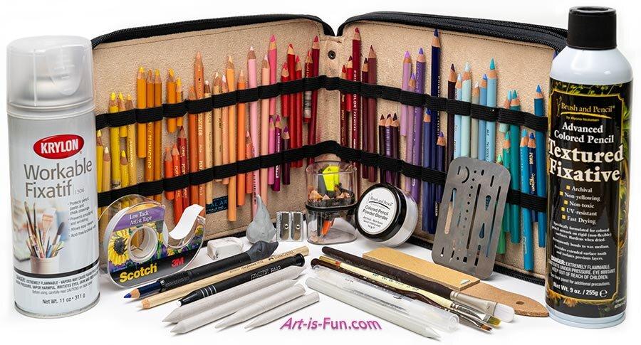 我用彩色铅笔使用的一些工具和配件