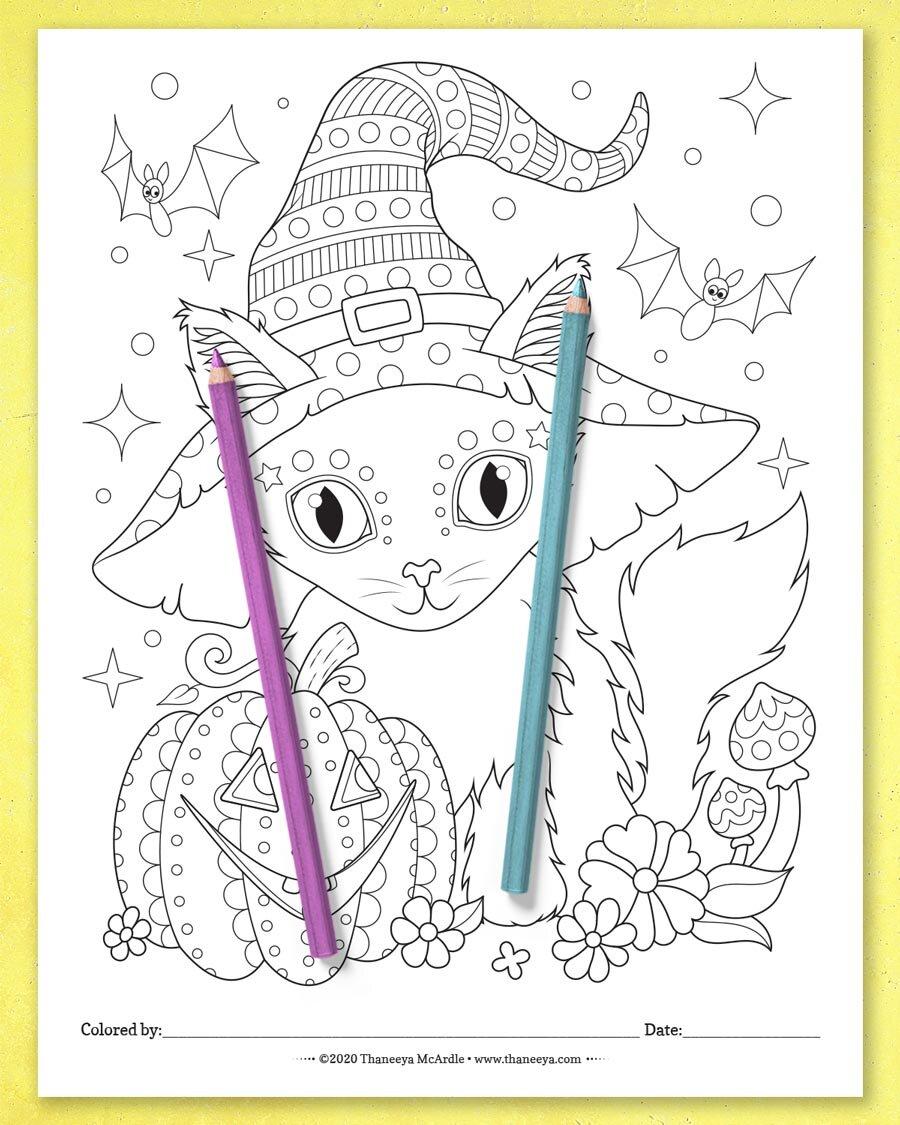 来自th万博体育2018版aneeya mcardle的猫彩页的万博体育游戏平台10个可印刷万圣节着色页
