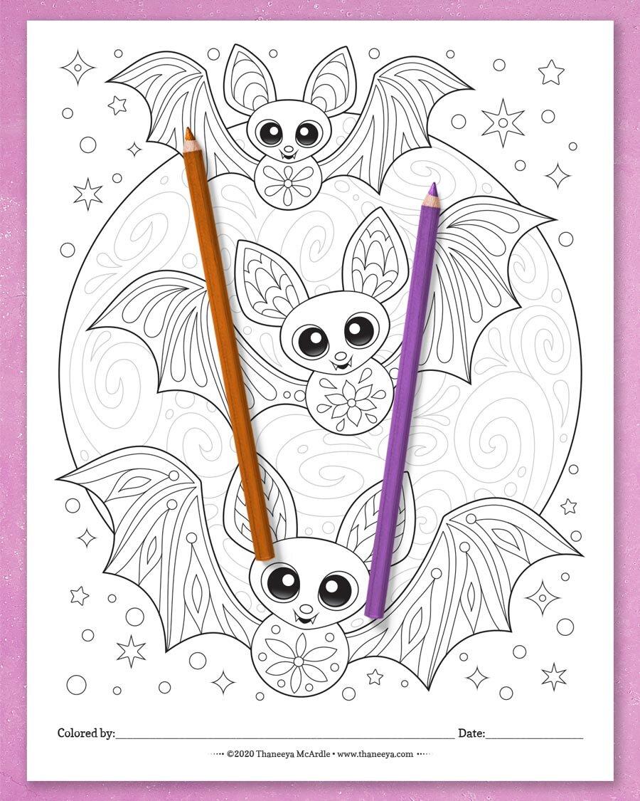 塔妮娅·麦betway必威官网app卡德尔的万圣节彩页套装有10张可印刷的必威西蒙体育 欧盟体育蝙蝠彩页
