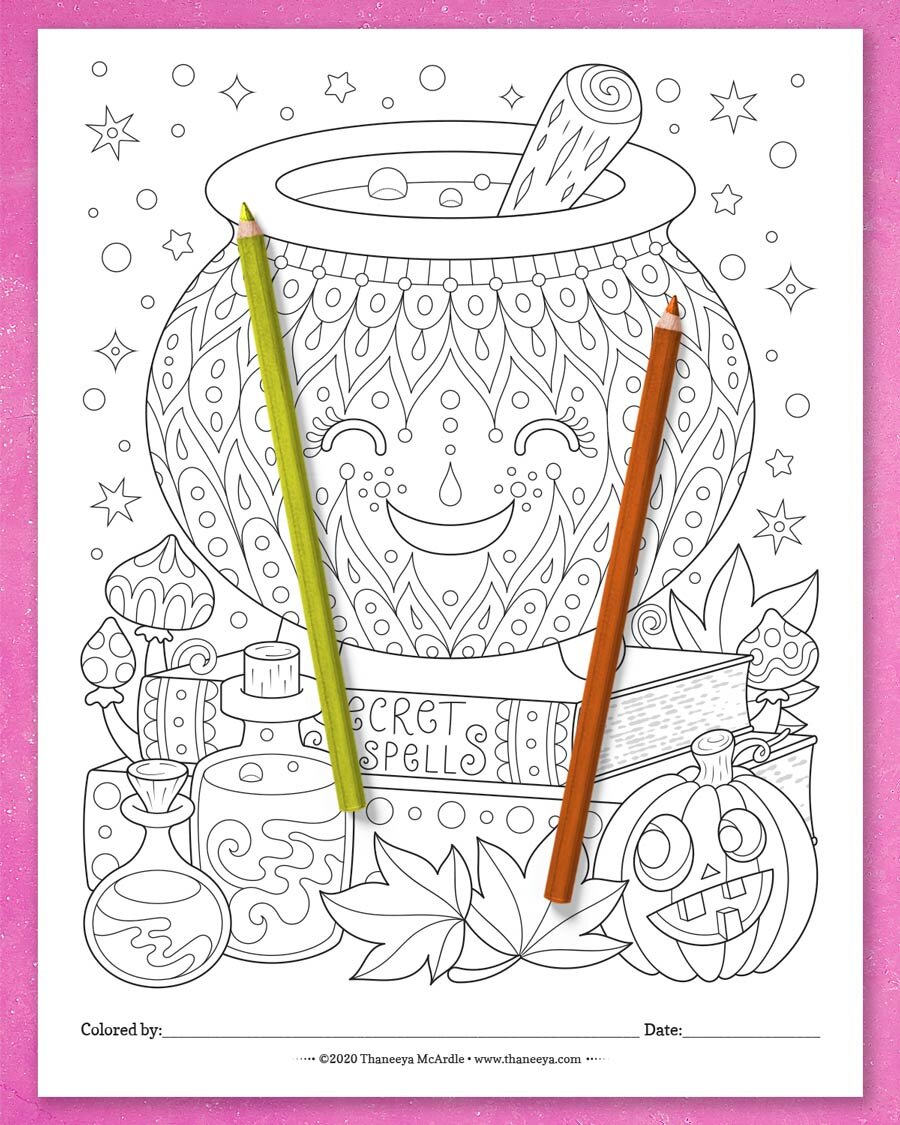 来自Thaneey万博体育2018版a Mcardle的Cauldron着万博体育游戏平台色页的10个可印刷万圣节着色页