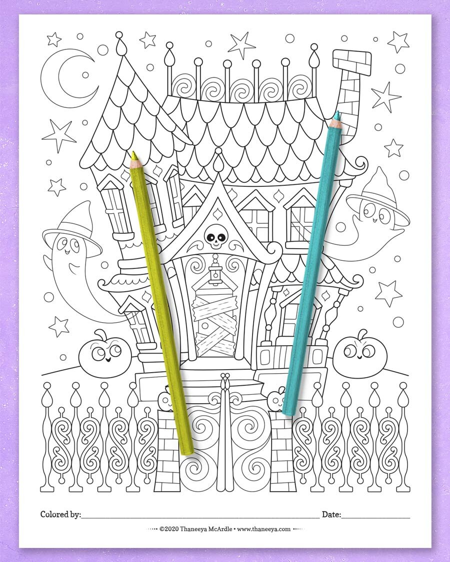 闹鬼的房子着色页从thane万博体育2018版eya mcardle的10个可印刷万万博体育游戏平台圣节着色页