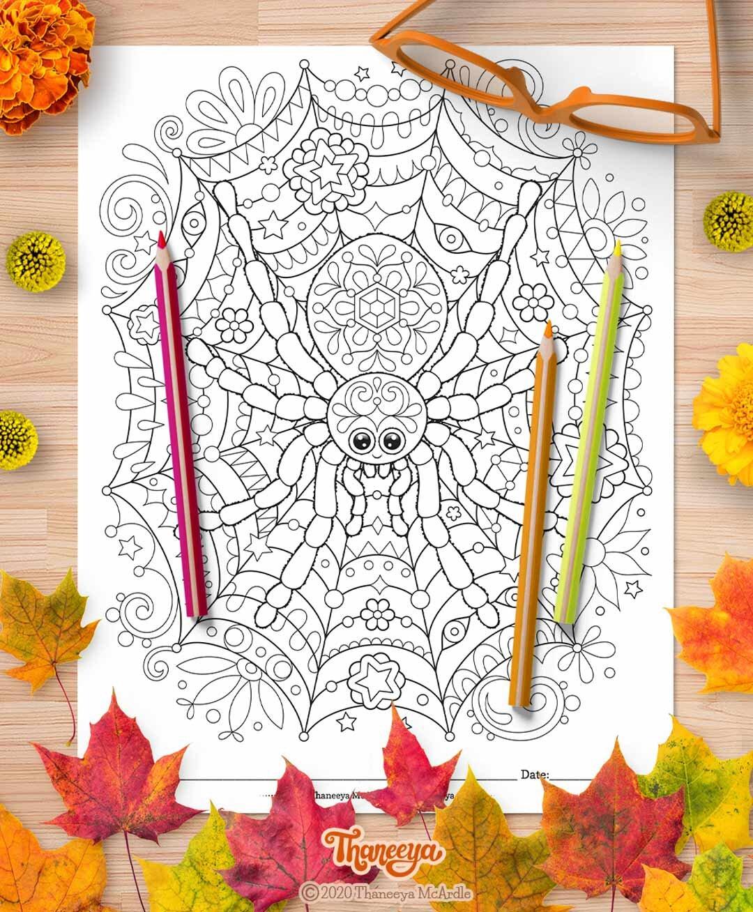 蜘蛛网着色页的可爱蜘蛛 - 套1个可打印的万圣夜着万博体育2018版色页由thaneeya mcardle万博体育游戏平台