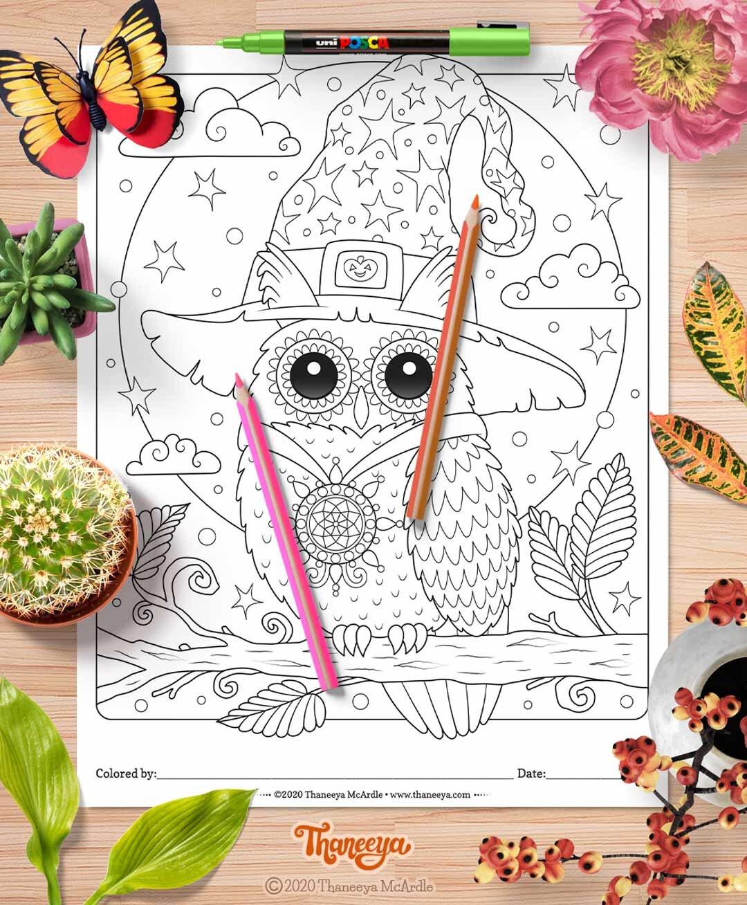 可爱的万圣节猫头鹰着色页从thaneebetway必威官网appya mcardle的10种可印刷万圣必威西蒙体育 欧盟体育节着色页