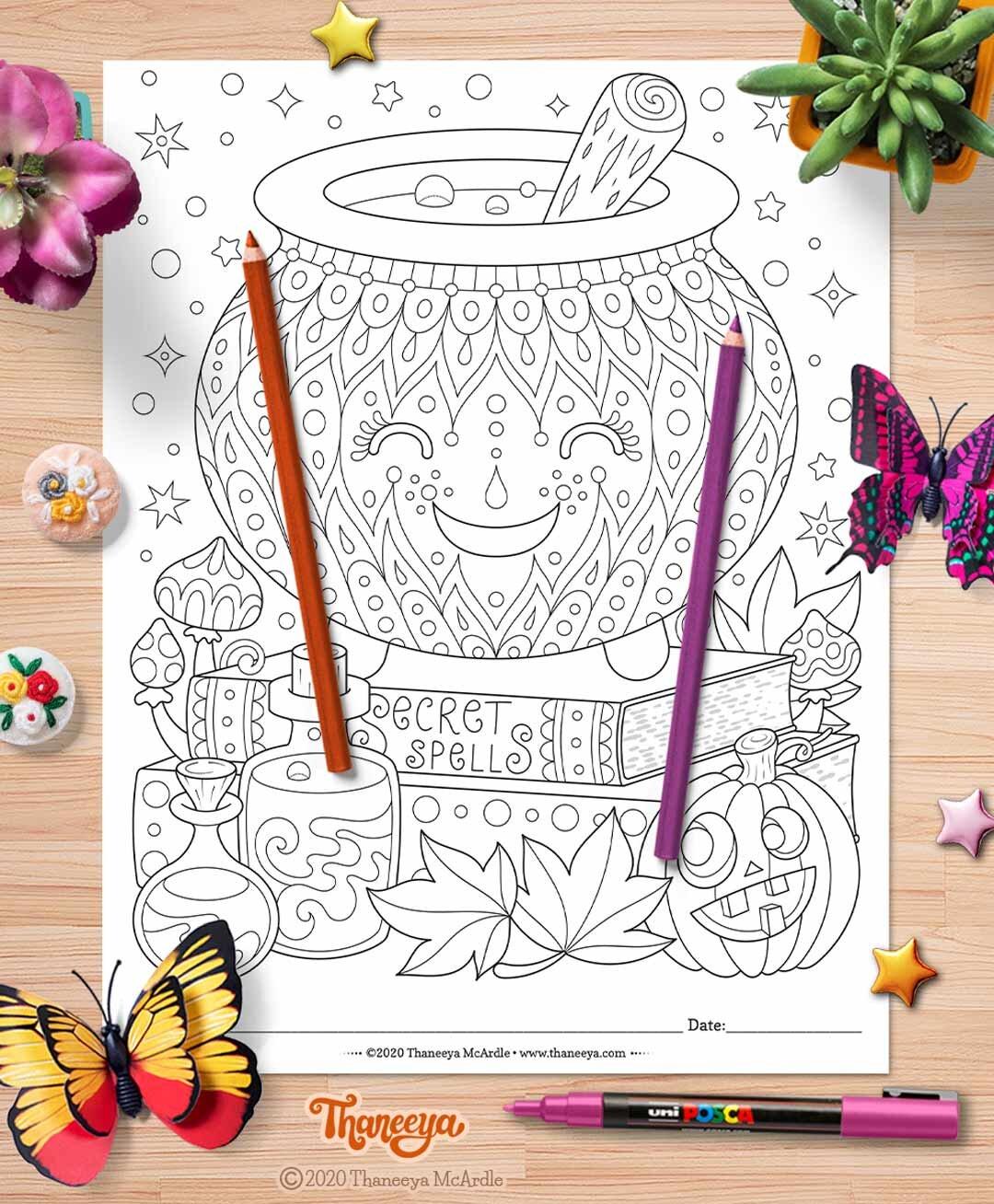 可爱的女巫的大锅着色页 - 套10个可打印万betway必威官网app圣节着色页,由thaneeya mcardle必威西蒙体育 欧盟体育