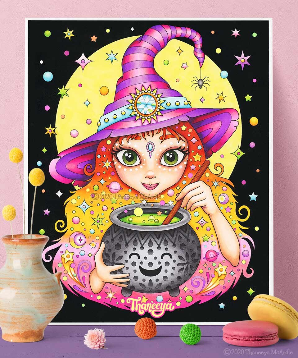 可爱的万圣节彩虹巫婆巫婆宣传页面由thaneeya mca万博体育2018版rdle  - 可打印的万圣节成人,万博体育游戏平台青少年和孩子的着色页