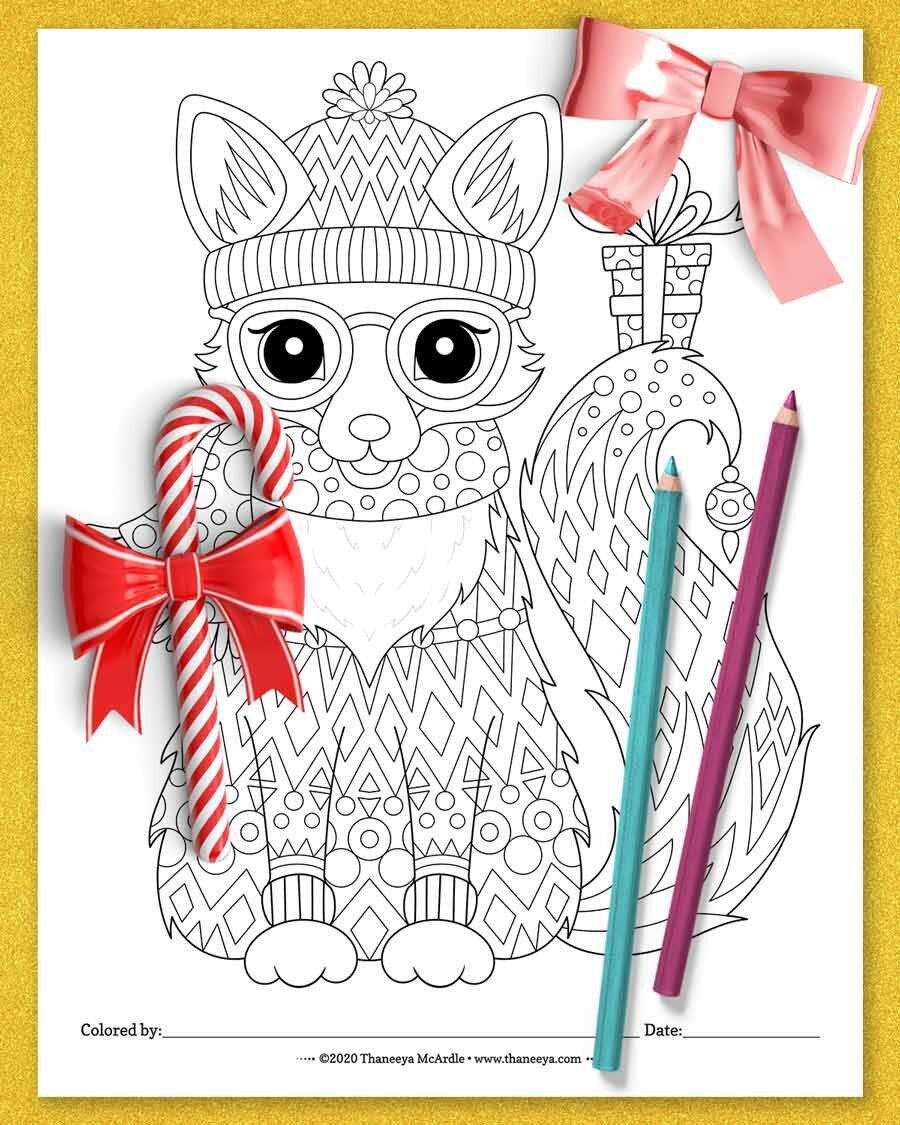 来自Thaneeya Mcabetway必威官网apprdle的圣诞福克斯着色页的10个印刷必威西蒙体育 欧盟体育圣诞动物着色页