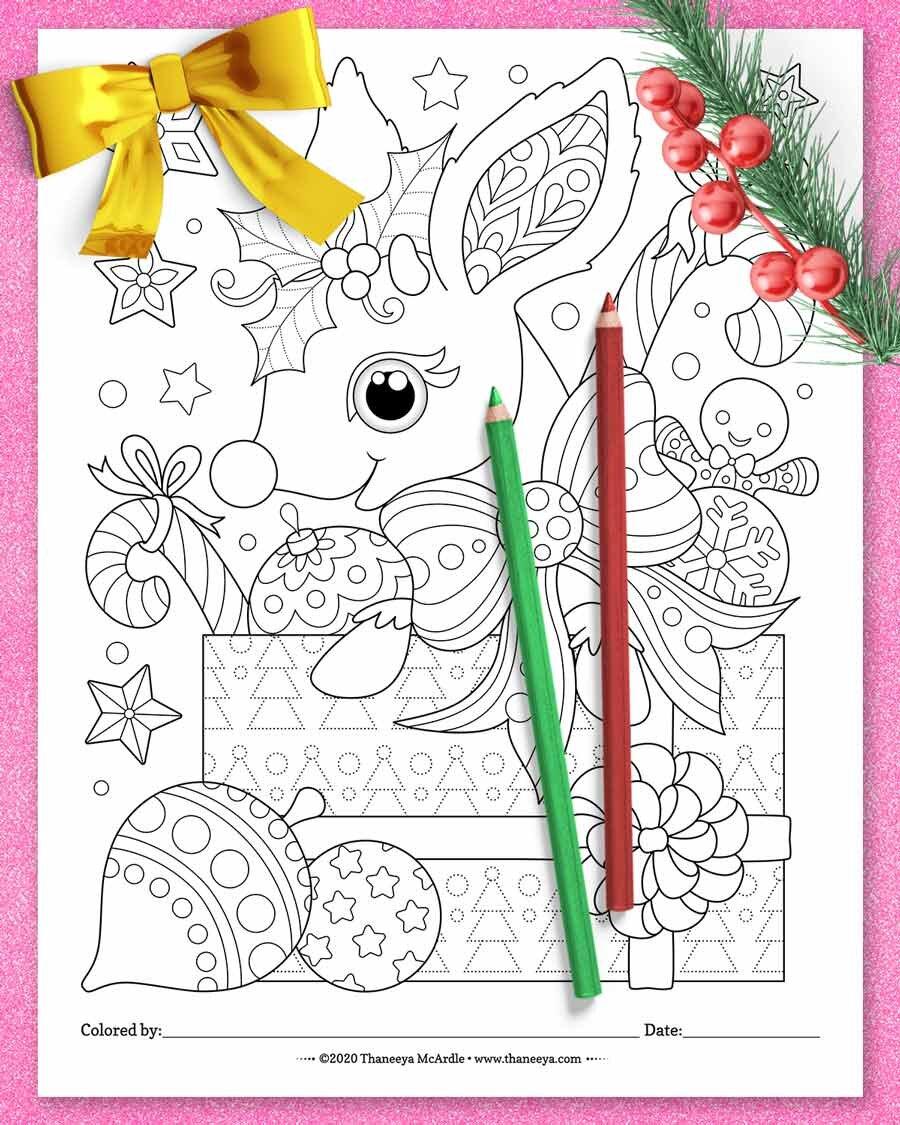 圣诞节驯鹿着色页从Thaneeya Mbetway必威官网appcardle的10个印刷圣诞动物着色页必威西蒙体育 欧盟体育