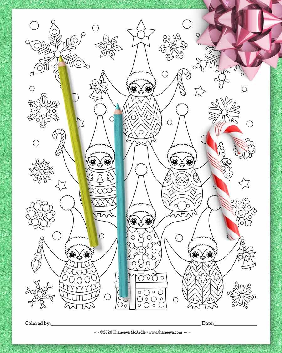 圣诞节企鹅着色页从Thaneeya Mbetway必威官网appcardle的10个印刷圣诞动物着色页必威西蒙体育 欧盟体育