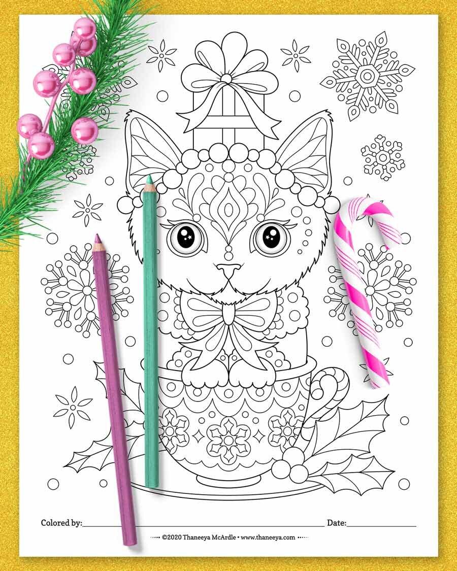 圣诞节小猫着色页从thaneeyabetway必威官网app mcardle的10个印刷圣诞动物着必威西蒙体育 欧盟体育色页