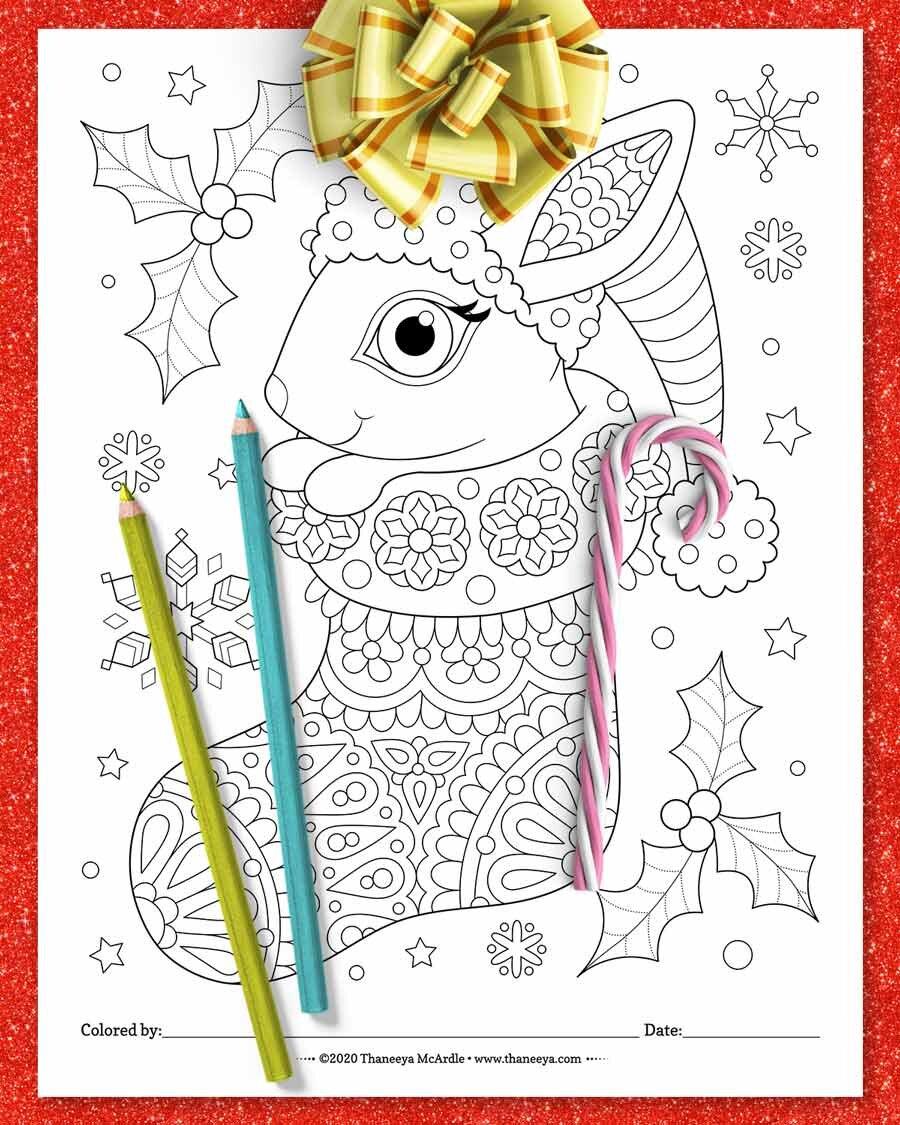 来自Thaneeya Mcardbetway必威官网apple的圣诞节兔子着色页的套10个可印刷必威西蒙体育 欧盟体育圣诞动物着色页