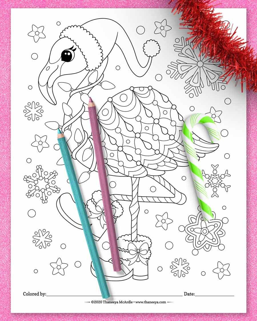 Christmas Flamingo着betway必威官网app色页从Thaneeya Mcardle必威西蒙体育 欧盟体育的10个印刷圣诞动物着色页