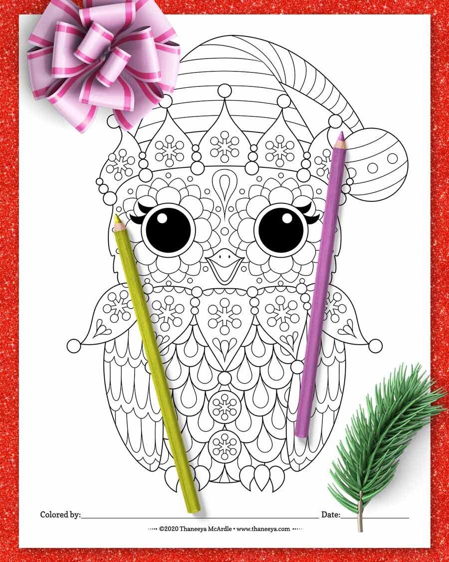 Christcy Elf猫头鹰着色页betway必威官网app从Thaneeya Mcardle的1必威西蒙体育 欧盟体育0种印刷圣诞动物着色页