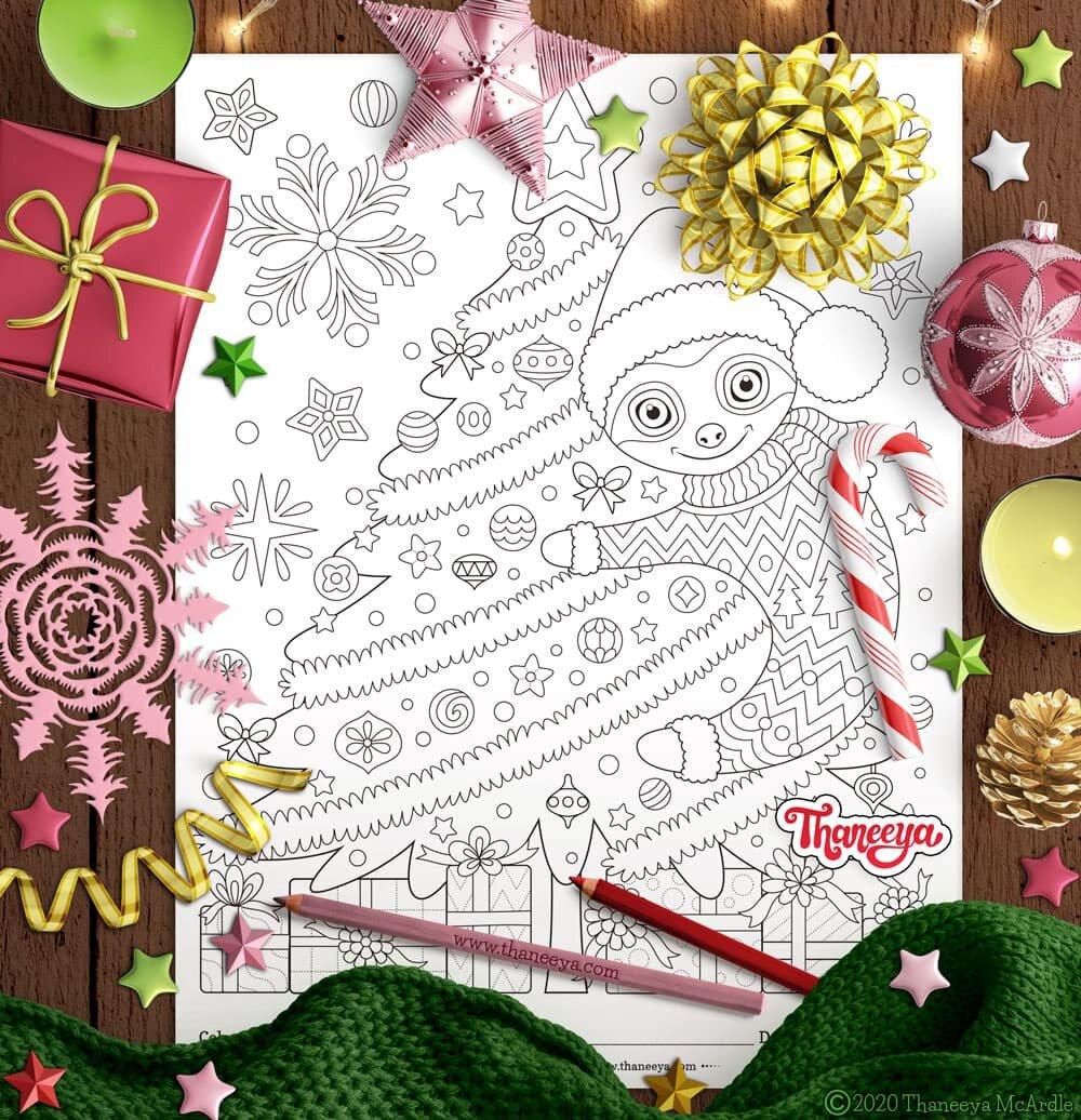 逗人喜爱的懒惰拥抱圣诞树着色页 - 套10个可打印的圣诞节动物彩色页面由betway必威官网appthaneeya mcardle着色页必威西蒙体育 欧盟体育