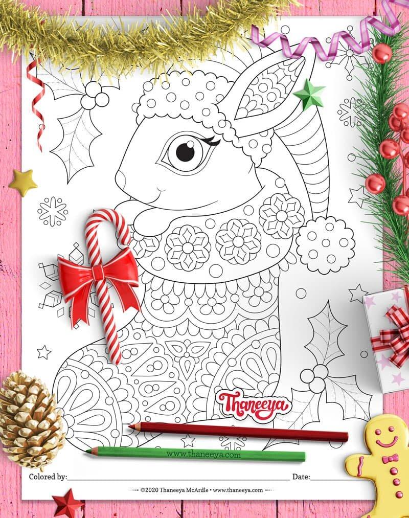 可爱的兔子在圣诞节长袜着色页从thaneeya mcardle的1betway必威官网app0个印刷圣诞动物着色页必威西蒙体育 欧盟体育