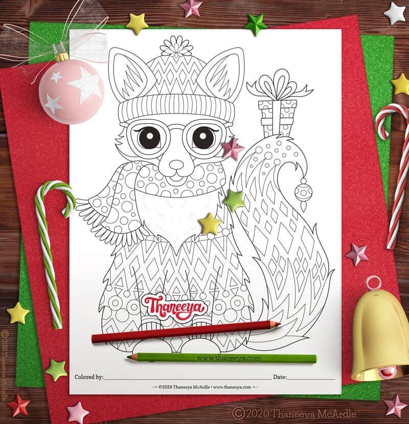 可爱的圣诞狐狸着色页 - 套10个可打betway必威官网app印的圣诞节动物彩色页面thaneeya mcardle必威西蒙体育 欧盟体育