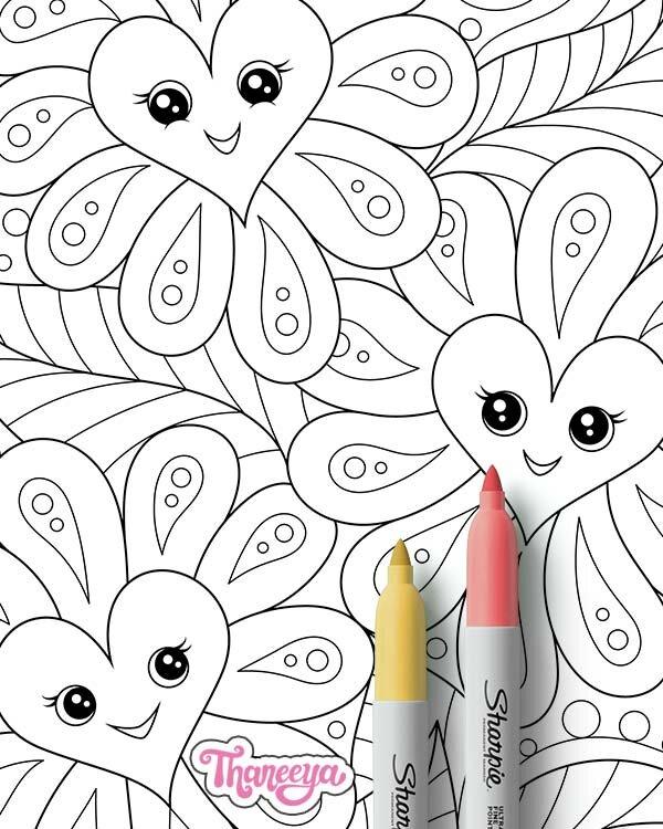 可爱幸福的心鲜花着色页(特写镜头) - 套1个可打18luck世界杯买球印的心脏着色页由thaneeya mcardle新利18在线娱乐