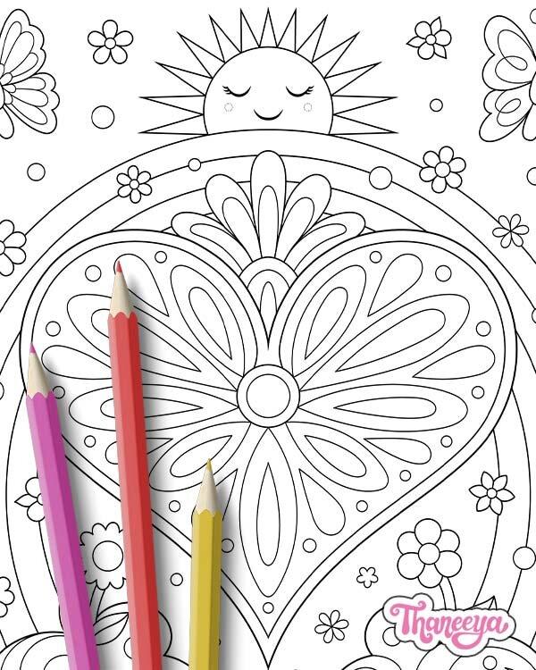 心脏彩虹着色页(特写镜头) 18luck世界杯买球- 套1个可打印心脏着色页,由thaneeya mcardle新利18在线娱乐