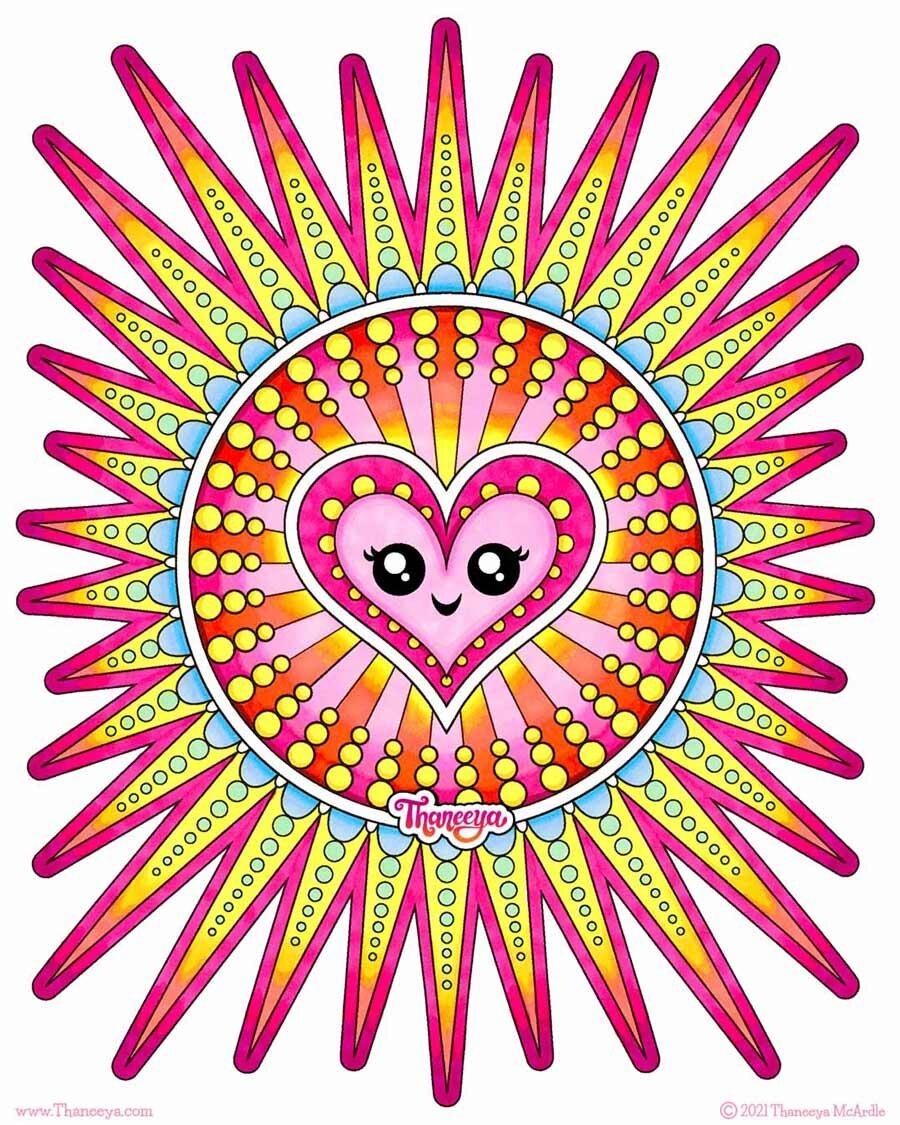 Heart Sun 18luck世界杯买球Coloring Page从Thane新利18在线娱乐eya Mcardle的10个可打印心脏着色页面
