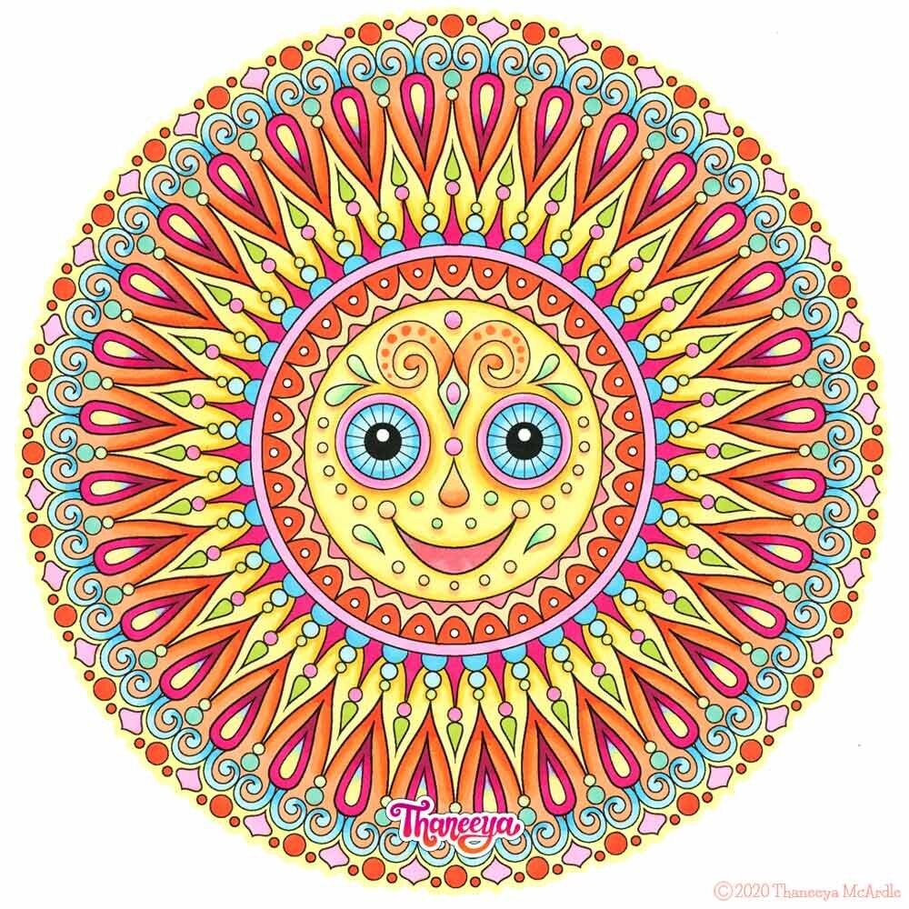 Sun Mandala从Thane必威西蒙体育 欧盟体育eya Mcardle的一套可打印的Sun曼荼罗着色页betway必威官网app
